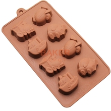 cake baking tools DIY silicone chocolate mold 8 lattices vehicle car ferry design candy molds SICM-008-7(China)