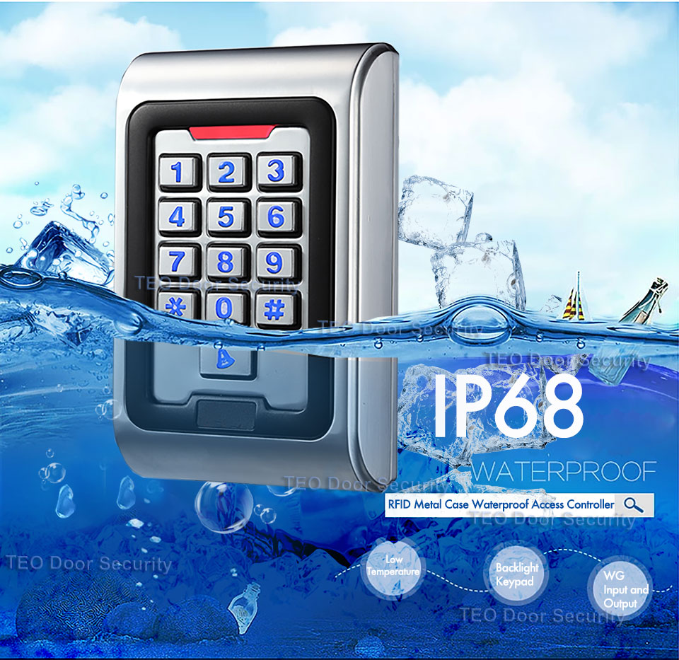 Waterproof IP68 RFID Card Door Access Controller With Wiegand 26 Output Work Voltage DC9V to 28V Backlight Keys Metal Access<br>