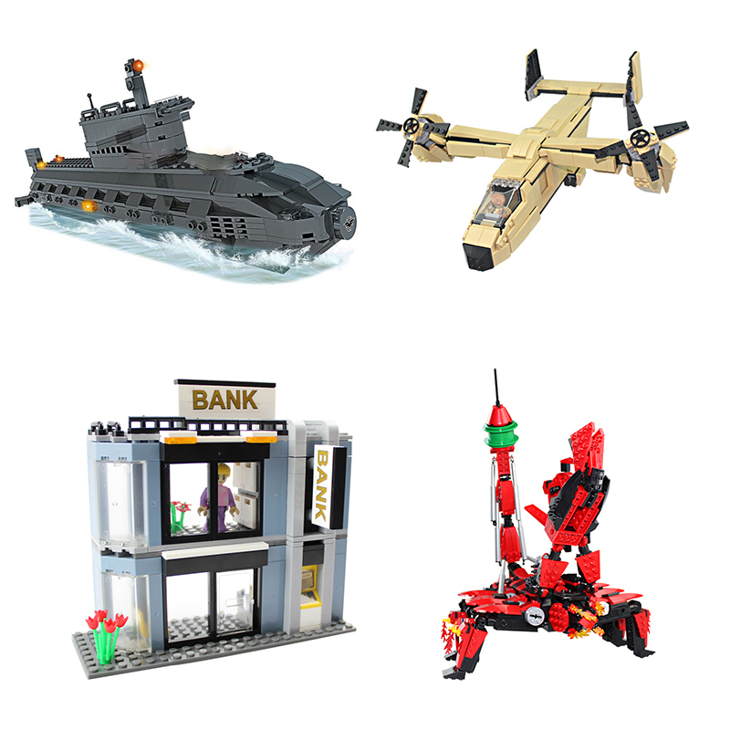 500Block Submarine Plane Build Children Educational Assembled DIY Model Kid Toy Gift Building Blocks Brick Compatible With Legoe<br><br>Aliexpress