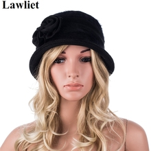 A377 Hot sale High Quality Angora Wool Black Fedora hat for women Winter Chapeu Bucket Hat With Floral Design