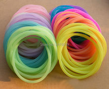 100x girls boys Basic fluorescent silicone bracelets wristbands stretchable charm glow in dark hairbands night club bag fillers(China)
