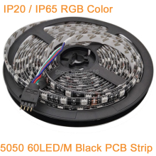 Black PCB 5M DC12V RGB Multi-color LED Strip 5050 SMD 60LED/M IP20 / IP65 Waterproof, 12V Flexible LED Ribbon Rope Tape