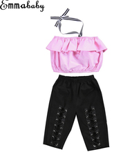Hot Toddler Kids Girls Off Shoulder Halter Tops Blouse Elastic Pants Outfits Set Summer Girls Clothes 1-6Yrs(China)
