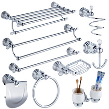 Luxury Crystal Silver Bathroom Accessories Set Chrome Polished Brass Bath Hardware Set Wall Mounted Bathroom Products TS1102