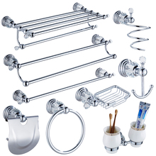 Luxury Crystal Silver Bathroom Accessories Set Chrome Polished Brass Bath Hardware Set Wall Mounted Bathroom Products TS1102(China)