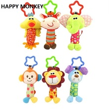 Buy Happy Monkey Newborn Infant Baby Soft Toys Baby Rattle Tinkle Hand Bell Tots Plush Mobiles Baby Bed/Crib Stroller KF032 for $2.59 in AliExpress store