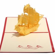 New Arrive 3D Chinese style Handmade Paper Card Personalized Vintage Ancient Wooden Boat Postcard For Festival Greetings Invitat