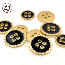 Free shipping 10pcs/lot high quality 4-holes metal gold button for shirt cloth pants bag sewing accessories 15mm/18mm/20mm DIY