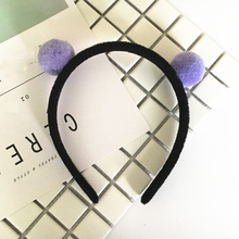 Lennai Ear Hair Band Children Headband Self Photo Headwear Party Prom Women Hair Accessories Girls Hair Hoop With Two Furry Ball