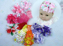 "20PCS 4.5"" BOW Flower  Head Band Crochet Headbands Big Girl Hair Accessories Hair Clip For Kids Hair Bow GZ7433"