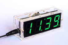 DIY Kit GREEN LED Electronic Microcontroller Digital Clock Time Thermometer With Talking Clock and PDF with Speaker(China)