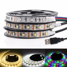 USB LED Strip Light 3528 RGB LED Strip Flexible Ribbon LED Tape With Mini 3 keys 50CM 1M 2M 3M 4M 5M FOR TV Background Lighting(China)