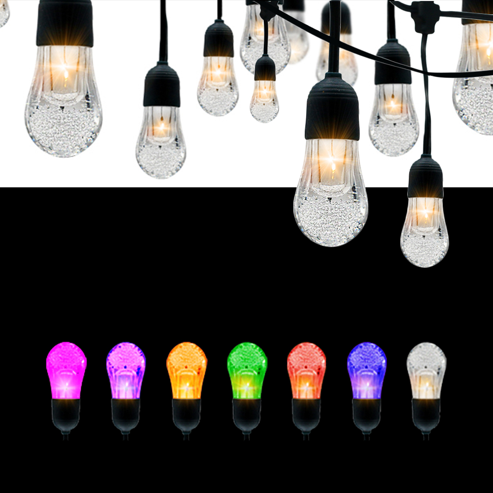 14Ft 12PCS LED Bulb USB Charging Solar String Light RGBWW IP65 Waterproof Outdoor Garden Holiday Christmas Decoration Light<br>