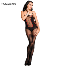 Buy Women's Sexy Lingerie Hot Nylon Bodystocking Sexy Body Costumes Erotic Underwear Teddies Bodysuits Crotchless Open Crotch wy337