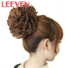 Leeven 65g Women Curly Chignon Clip in Elastic Fake Hair Hairpiece Black Brown Accessories Synthetic Natural Hair Bun Updo Style