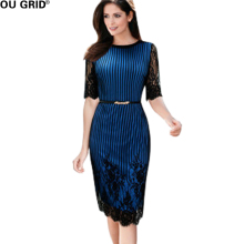 Blue Lace Hollow Out Sleeve Straight Dress Women Striped Print Wear to Work Elegant Slim O-neck Belt Design Formal Dresses