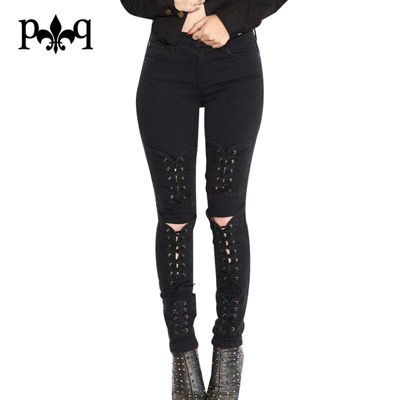 High Waist Jeans Women Autumn Streetwear Sexy Lace Up Long Pant Hole Knee Ripped Jeans For Women Skinny Jeans Black WhiteОдежда и ак�е��уары<br><br><br>Aliexpress