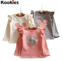 2017 Spring Baby Girls Long Sleeves T-shirt ruffle raglan shirts baby girl clothes Minnie Cartoon Kids Tees
