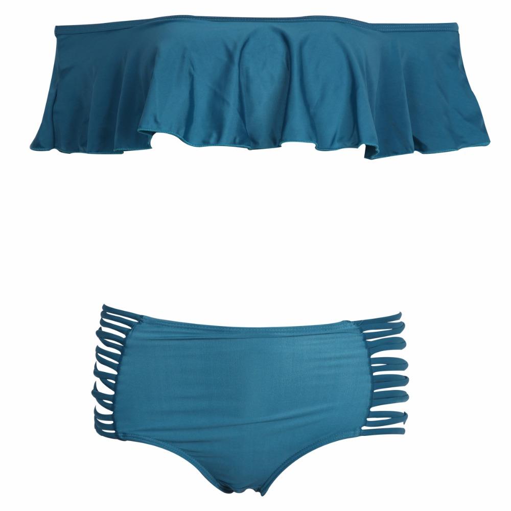 Sexy Ciało Stałe kolor Off Ramię Bikini Set Push Up bandeau bikini 2017 stroje kąpielowe strój kąpielowy Falbala kobiety wysoka talia stroje kąpielowe 13