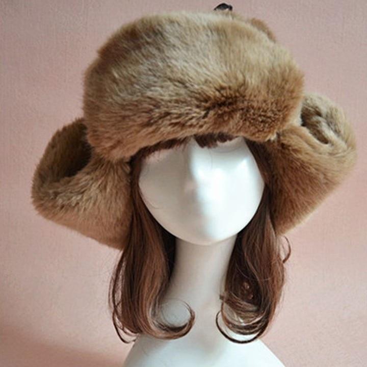 Winter Women Faux Fur Warm Hats Dome Caps Ear Protect Warm Fuzzy CapОдежда и ак�е��уары<br><br><br>Aliexpress