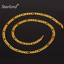 Starlord Figaro Necklace For Men Jewelry Gold Color Chains 5MM 46CM/55CM/71CM Fashion Jewelry Stainless Steel Figaro Chain N1041(China)