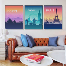 City Silhouette London Paris Eiffel Tower New York Poster Living Room Wall Art Print Picture Home Decor Canvas Painting No Frame(China)
