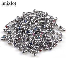 Imixlot Eyebrow Piercing Curved Barbells Bananas Ball Silver Double Crystal Nose Labret Piercing Body Jewelry 18G Nipple Bar