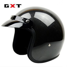 Free shipping! Fashion GXT retro motorcycle helmets vintage 3/4 capacete scooter Carbon Fiber Material open face helmet ECE(China)