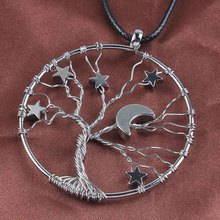 Trendy-beads Silver Plated Inlay Lucky Star Wisdom Tree Of Life Pendant Half Moon Necklace Rope Chain Fashion Jewelry