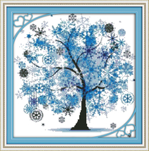 Modern style DIY home decoration Innovative items unfinished cross-stitching set precise printed embroidery - Happy tree (4)