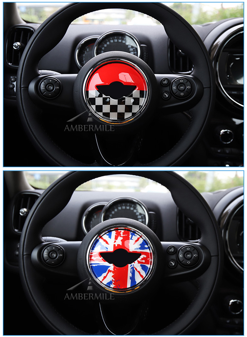 3D Car Steering Wheel Center Stickers Covers Interior Decorations for MINI Cooper JCW F55 F56 Accessories Car Styling (6)