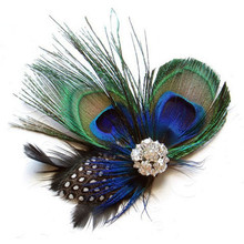 Hot Fashion Novelty Peacock Feather Sparkling Rhinestones Bridal Wedding Hair Clip Head Accessory Feathers & Rhinestones Vicky(China)
