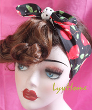 1950s women vintage rockabilly pinup polka dot black cherry headband hairband hair scarf bands accessories bandana bandeau wrap