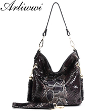 Arliwwi Sexy Boa Pattern Embossed 100% Real Leather Lady Crossbody Handbags Designer Tassels Women Genuine Cowhide Totes Bag New(China)