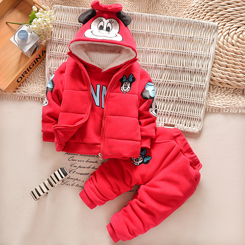 new winter  Childrens minnie pattern casual set coat  pants and vest Fashion baby girls cartoon mouse Suits 3pcs sport clothes<br>