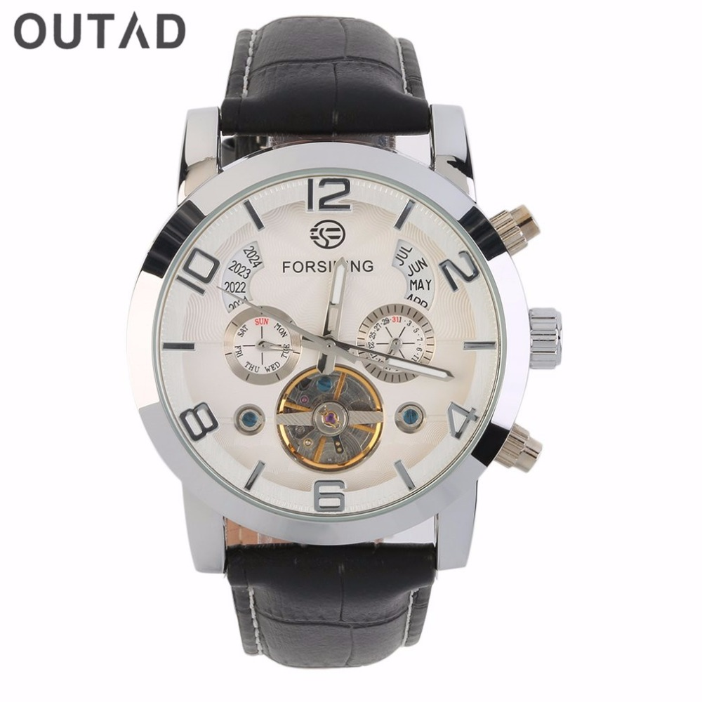 OUTAD Mens Mechanical Watch Stainless Steel Three Dial Luxury Automatic Hollow Faux Leather Band Wristwatch Montre Homme<br>