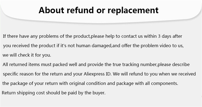 about refund or replacement