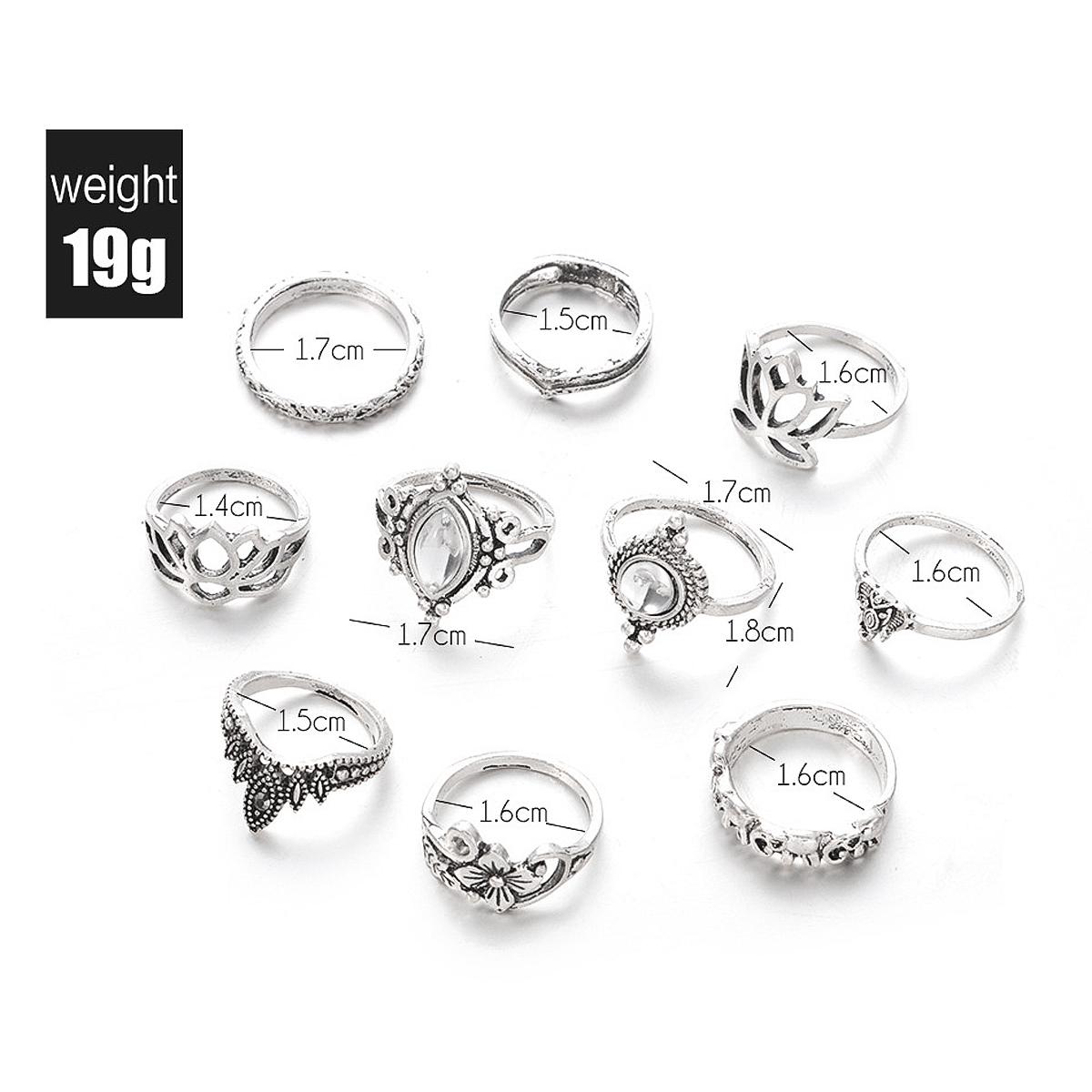 Many Sizes 10pcs/Set Vintage Bohemian Ring Set (Less than 1$ each)