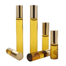 1pcs 10ml Empty Travel Mini Portable Refillable Perfume Parfum Bottles Essential Oil glass Bottle Stainless Steel Roller Ball(China)