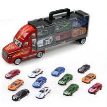Transport Car Carrier Truck Toy for Boys Includes 12 Metal Cars Handheld Gift Package Boy Educational Toy Small Car Toy(China)