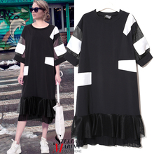 New Euro Women Spring Black White Casual Dress Half Sleeves O-Neck Mesh With Patches Mid-Calf Length Ladies Fashion Vestido 2268