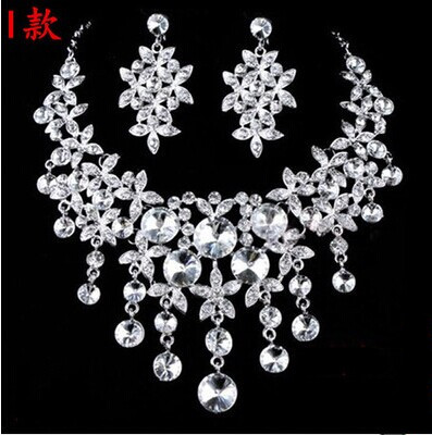 High Quality Silver Luxury Oversize Crystal Wedding Jewelry Sets Hollow-out Flower Necklace&Earrings Set For Woman (8)