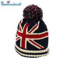 Bnaturalwell Unisex girls boys winter suit USA UK flag design knit knitted hat warm Spring autumn beanies Kids Ears Hat H105D(China)