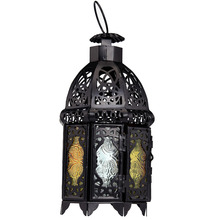 Retro Moroccan Style Matte Black Cast Handmade Octagonal Candle Lantern with Glass Decoration for Living Room Balcony Garden