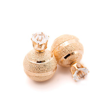Golden Silver Plated Metal Ball Stud Earring Luxury Scrub Crystal Crown Double Sides Big Pearl Earrings For Women Party Jewelry