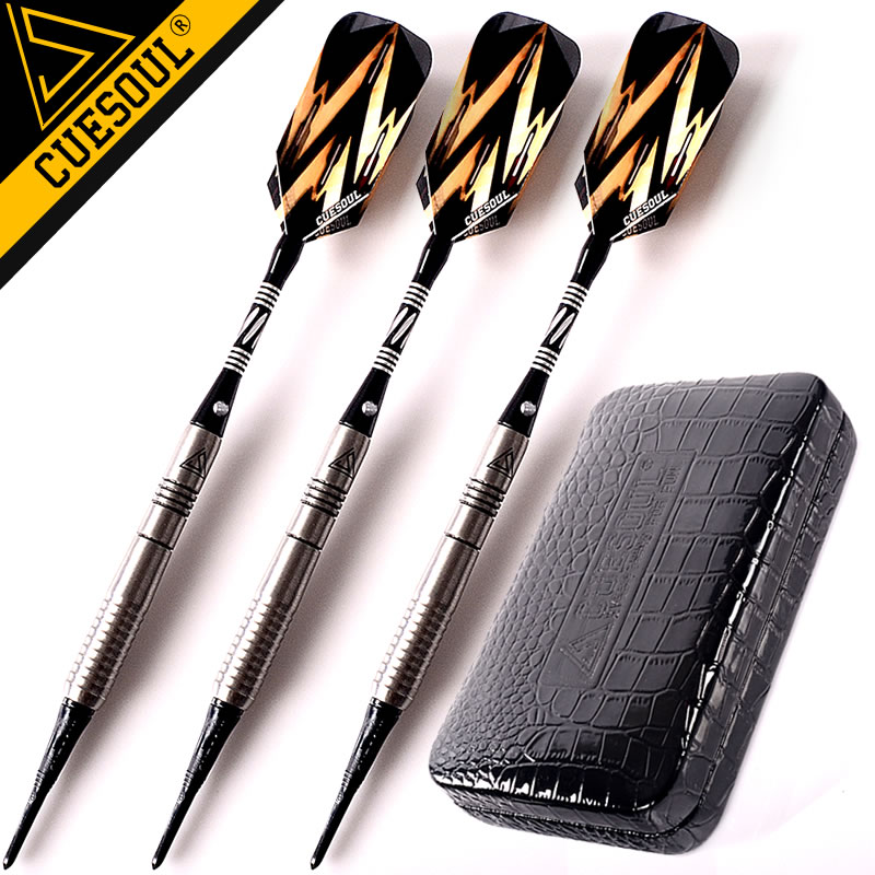New CUESOUL Soft Tip Darts  3PCS/set 18g 15cm 90% Tungsten Darts Electronic Dart Needle With Leather Case<br>
