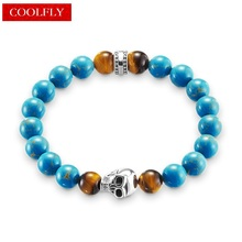 2017 New Thomas Silver Color Skull And Blue Stone Beads Bracelets European Rebel Vintage Fashion Jewelry For Men Ts Gifts Heart(China)