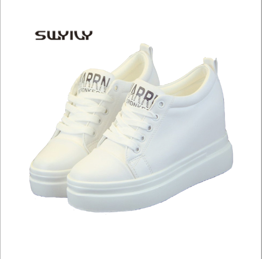 SWYIVY Platform White Shoes Women Spring And Summer 2019 New Increased Wedge Women