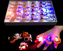 50PCS Halloween Party LED Soft Jelly Glowing Finger Rings Light Flashing Christmas Kids Children Light-up Toys Retail Box 01#