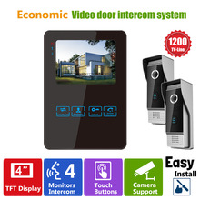 Homefong Luxury Video Door Phone Intercom System With 1200TVL Camera For Villa House 2V1 4 Inch Wired Doorbell Camera Entry Kit